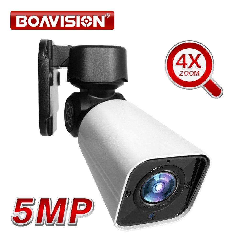 5MP 4X Bala PTZ Ao Ar Livre Câmera IP ZOOM Óptico Câmera PTZ Rede IP66 50 M Bala CCTV Segurança IR À Prova D' Água câmera 48 V POE