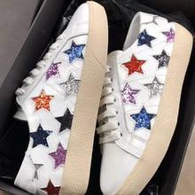 b78ef4809 Белые кроссовки звезды грязная обувь женские кроссовки женские кожаные  смешанные Цвет кроссовки на платформе на шнуровке