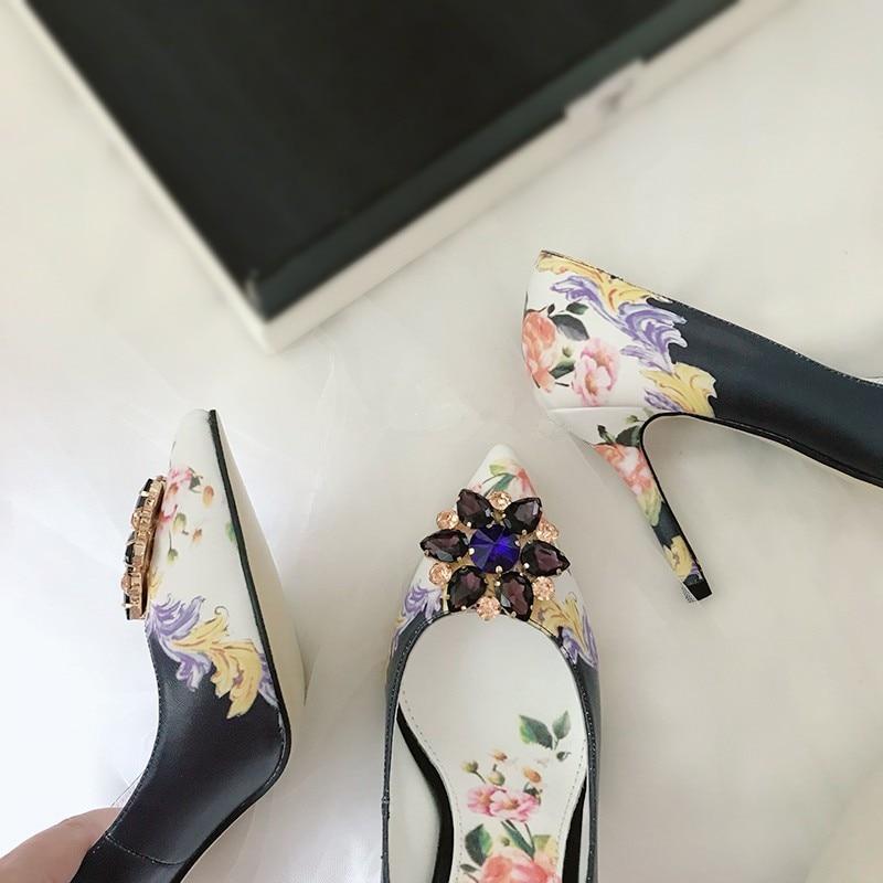 Fleur De Véritable Robe Printemps Partie En 2019 Cuir Mariage Chaussures Beertola Femmes Cristal Luxe Bout Picture Imprimer As Designers Pompes Pointu YTZZ6Wvnp