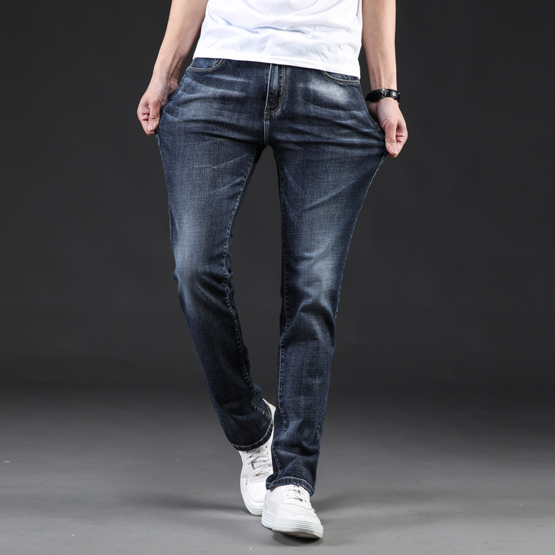 2019 New Jeans Men Classic Casual Spring Autumn Summer Jeans Men Stretch Straight Long Trousers Plus Size 40 42 44 46