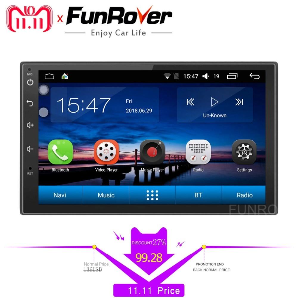 Funrover Android 8,0 2 din универсальный автомобильный dvd-плеер gps навигация автомобиля стерео радио видео плеер streeing колеса управления RDS