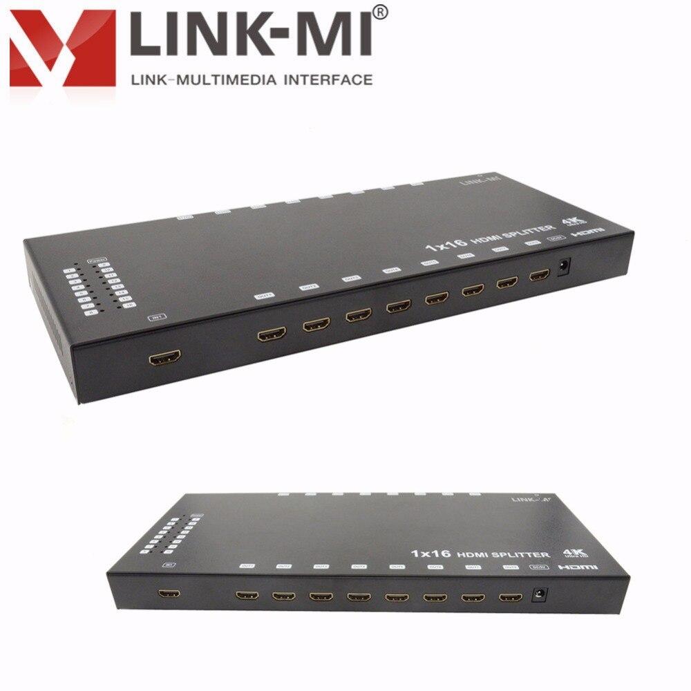 LINK-MI LM-SP16-4K2K HD vidéo 1x16 HDMI séparateur W/3D 4 K x 2 K hd séparateur 1x8 1x2 1x4 3D vidéo