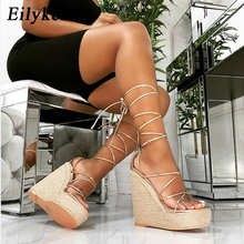Eilyken Golden Champagne Platform Wedges Women Sandals Lace-Up Rome Sexy Peep Toe Fashion Ladies Casual Shoes Size 35-42