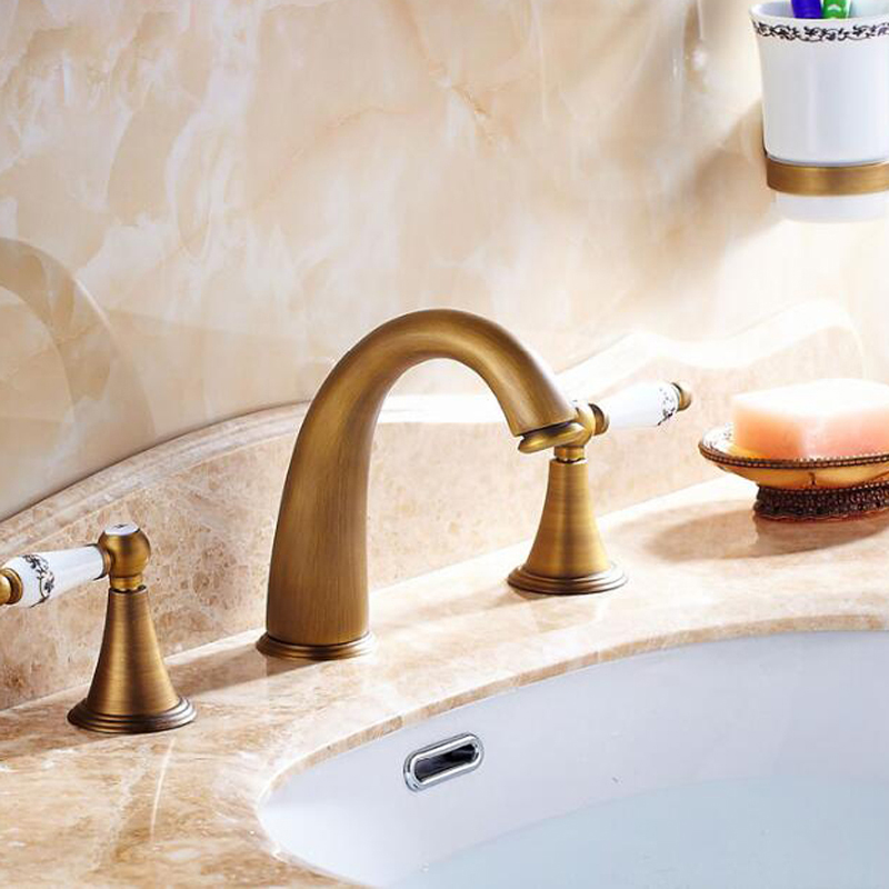 Wholesale And Retail Widespread Antique Brass Bathroom Basin Faucet Dual Ceramic Handles Sink Mixer Tap Widespread 8 Sink wholesale and retail golden brass diamond ceramic base tooth brush cup holder tumbler holders with dual ceramic cups