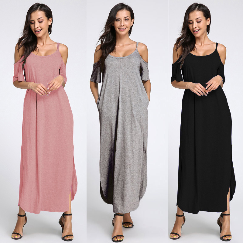 S-5XL Celmia 2018 Summer Boho Beach Dress Women Sexy Off Shoulder Strapless Split Maxi Dress Casual Loose Solid Long Sundress