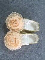 Gold Flower Christening Shoes Baptism Wedding Flower Girl Shoes