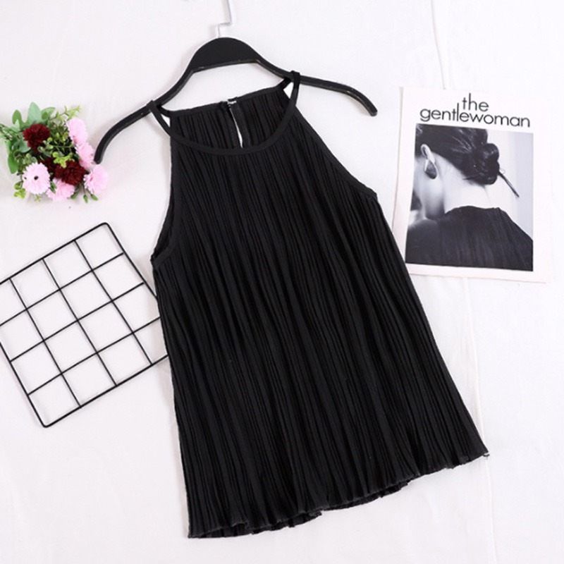 2019 New Summer Women Loose   Tops   Vintage Solid Cami   Top   Women Pleated Sexy Sleeveless Camisole   Tops   Female Cotton   Tank     Top