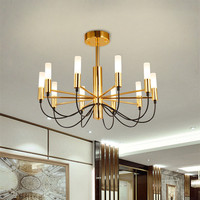10 Heads Nordic Designer Flos Living Room Chandelier Simple Postmodern Originality Restaurant Golden Villa Bedroom LED
