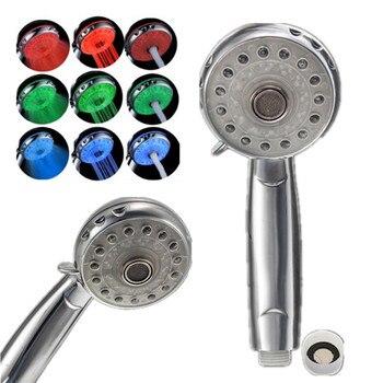 Precio más bajo ajustable 3 modos 3 colores LED cabezal de ducha Sensor de temperatura RGB rociador de baño producto de baño