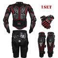 HEROBIKER Black Motorcycle Racing Body Armor Protective Jacket+ Gears Short Pants+Motorcycle Knee Protector+Moto gloves