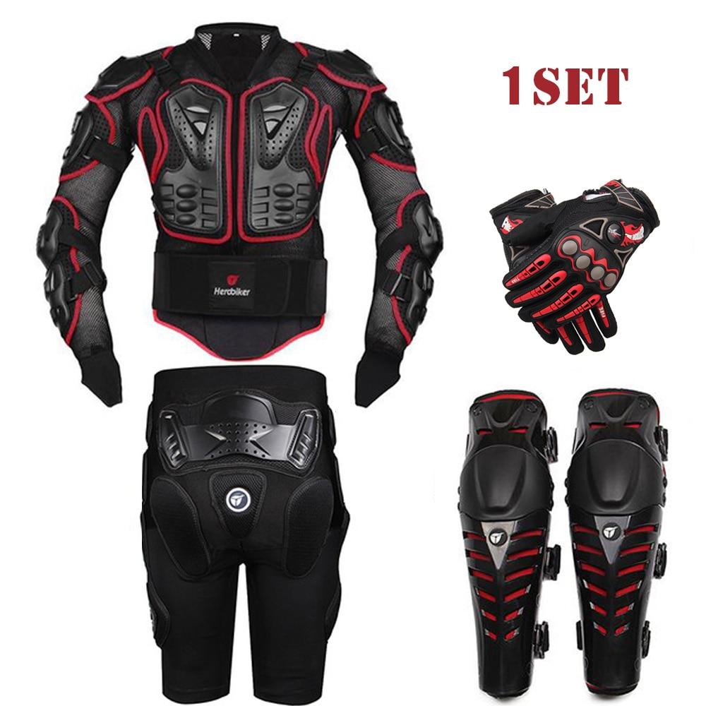 Prix pour HEROBIKER Noir Moto Racing Body Armor Veste + Engrenages De Protection Pantalon Court + Moto Genou Protecteur + Moto gants