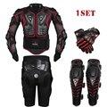 Herobiker negro pantalones cortos de la motocicleta racing body armor protective jacket + engranajes + motocicleta knee protector + guantes de moto