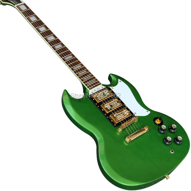 Nach maß e gitarre metall grün 3 pickup Gitarre Freies Verschiffen ...
