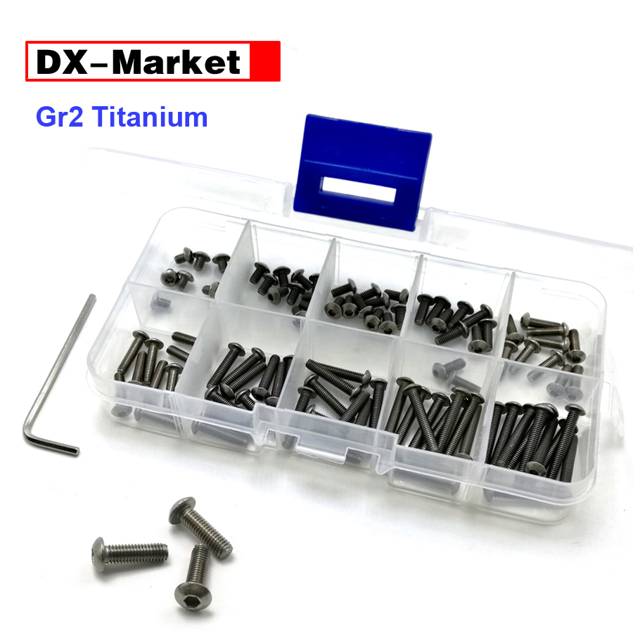 m3 m4 m5 m6 Titanium bolt kit , hex socket button head screw , ISO 7380  Titanium bolt , GR2 titanium fasteners