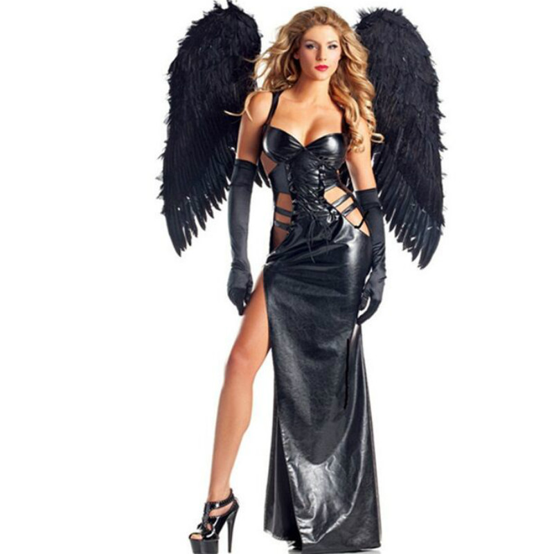 <font><b>2018</b></font> New <font><b>Sexy</b></font> Black Angel Halloween Cosplay <font><b>Costume</b></font> <font><b>Sets</b></font> (Dress+Wing) image
