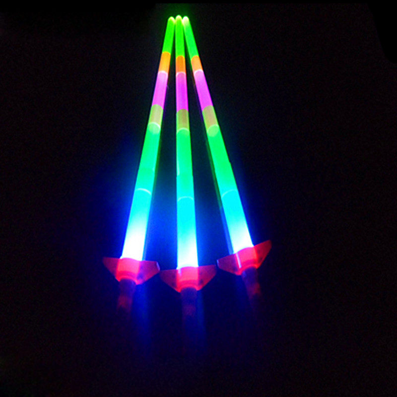 2pcs LED Glow Stick Sword Four Section Adjustable Extendable Flashing Sticks Concerts Toy Party Glow Wand Weapon,Night flash