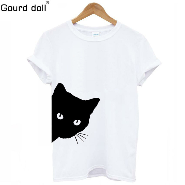Cat Looking Out Side tshirt women harajuku ulzzang Punk Cartoon Letter Print top Tee Shirt Round neck Femme Casual tops tumblr