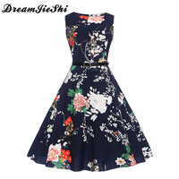 Dreamjieshi Summer Women Charm Black Print Vintage Sleeveless Party Dress Retro 50s 60s Hepburn Vest A