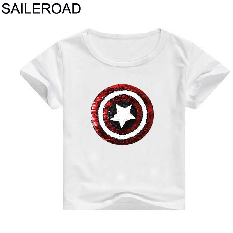 ec154ca1c SAILEROAD 2-11Year T-shirt for Boys Girls With Paillettes Cartoon Face- changing