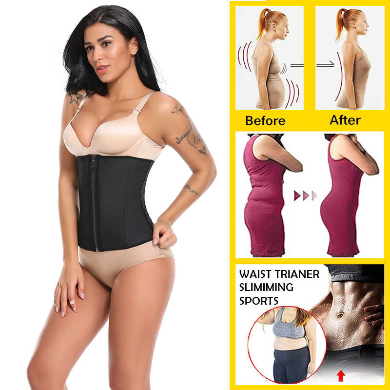 04b987abf ... Miss Moly Latex Waist Trainer Body Shaper Women Corsets with Zipper Hot Shapers  Cincher Corset Top ...