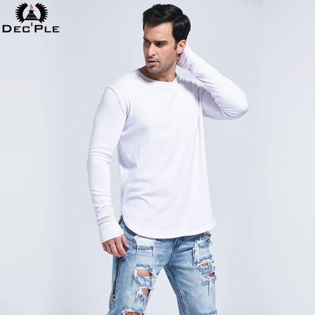 Dec'ple Hop estilo manga Longa T shirt dos homens Novos de Moda Simples Alongada de Ultra básico camisa dos homens T 100% algodão T-shirt Dos Homens T camisas