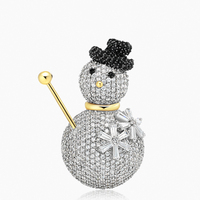 Cute Snowman Brooch Zircon Exquisite Pin Christmas Santa Unique Clothing Badge Corsage Collars Brooches Weddings Jewelry Gifts