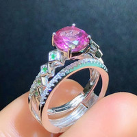 Stylish sterling silver pink gemstone ring s925 silver inlaid natural topaz ring