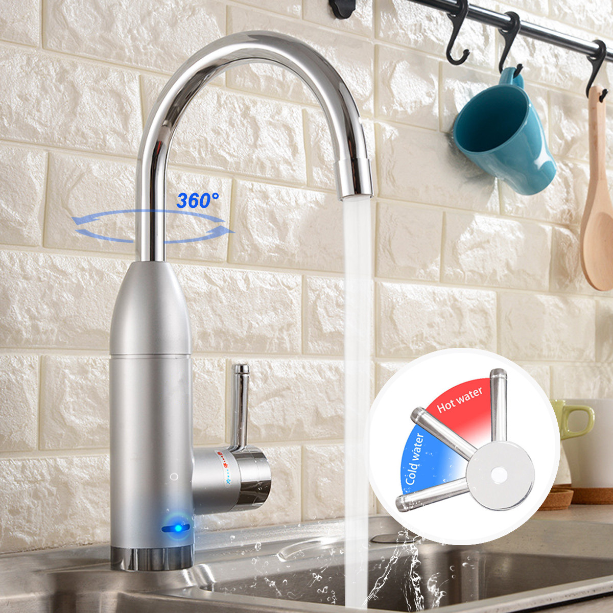 Electric Water Heater Faucet Hot Cold Mixer Faucet 360 Degree Adjustable Kitchen Instant Heating Tap Water Heater with LED цены