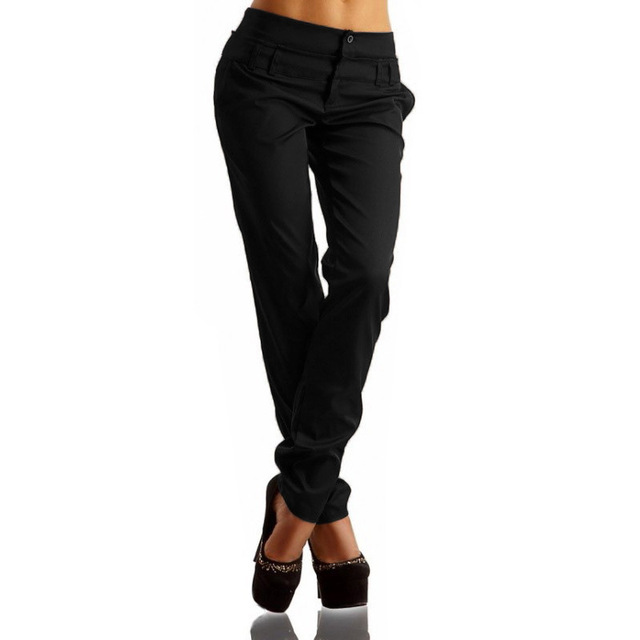 Women High Waist Buttons OL Ladies Long Pants Casual Skinny Leggings Pencil Trousers Plus Size