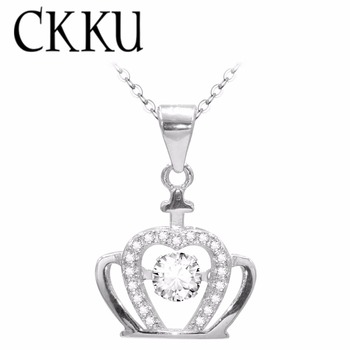 CKKU Jewelry Choker Crown Pendant Necklace Made With Cubic Zirconia Sterling Silver 18 Inch Chain Best Choice Gift PY100