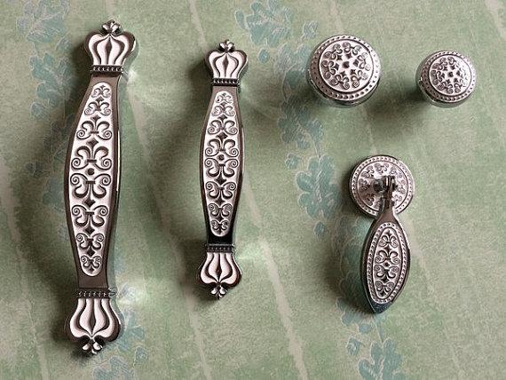 3.75″ 5″ Silver White Drawer Knobs Dresser Pulls Handles Knobs / French Shabby Chic Kitchen Cabinet Pull Knob Hardware 96 128 mm