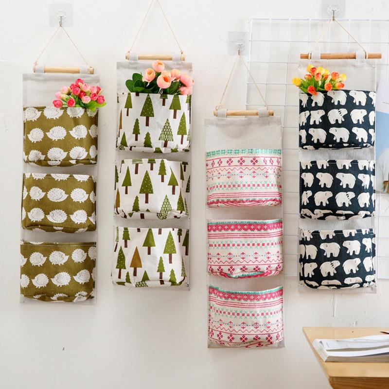 Flamingo Pattern algodón lino colgante bolsa de almacenamiento 3 - Organización y almacenamiento en la casa