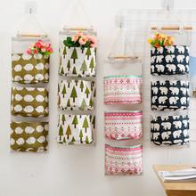 Flamingo wzór Cotton Linen wisząca torba do przechowywania 3 kieszenie naścienny wiszący worek do garderoby pokrowiec na ścianę zabawki kosmetyki Organizer tanie tanio Kosze do przechowywania Tkaniny Zaopatrzony Ekologiczne Składane Neatening przechowywania NYLON seluna Sundry storage hanging bag