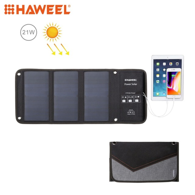 HAWEEL 3 Solar Panel 21W Foldable Solar Charger Outdoor Emergency Portable Backup Power 5V / 2.9A Max Dual USB Ports for Phone