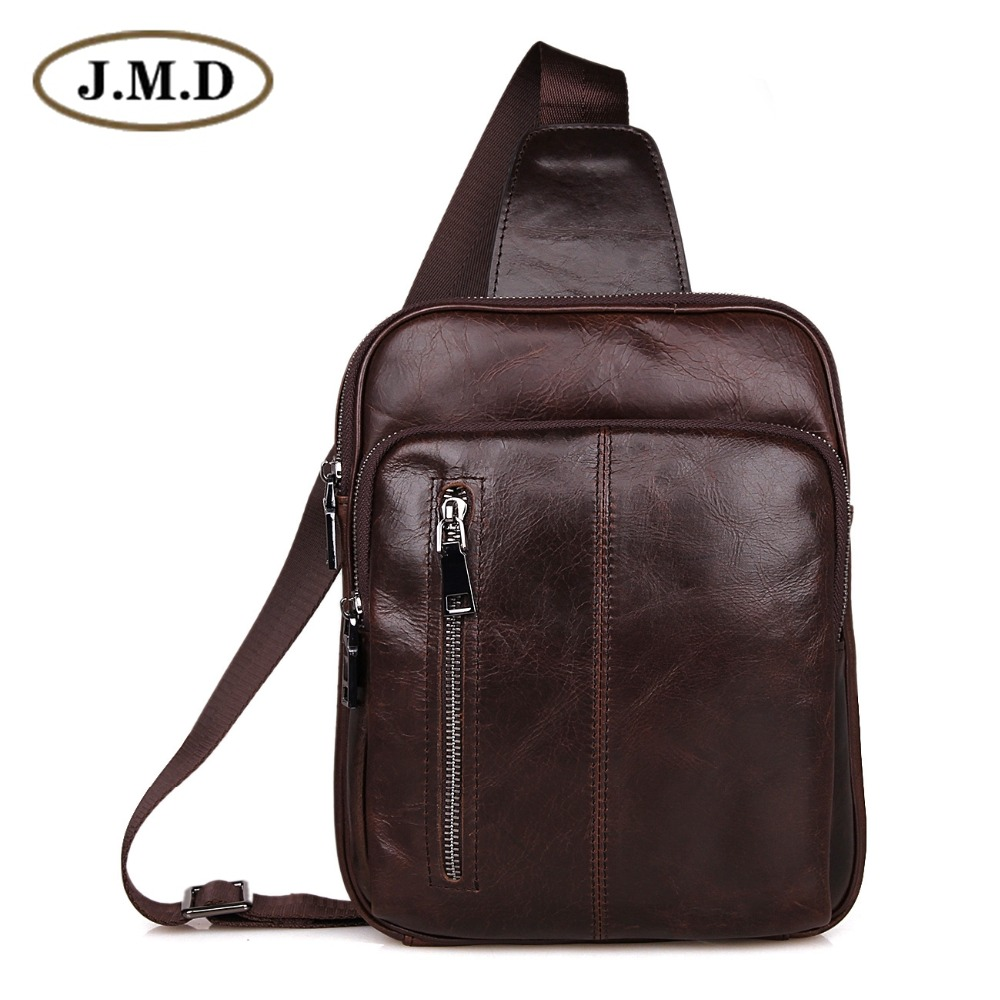 Genuine Cow Leather Men's Cross Body Chest Bag Small Backpack Bag For Man 7215C-1 cow leather man backpack 100