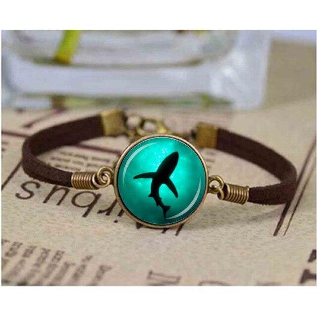 Qiyufang Jewelry 1pcs Lot Shark Gl Dome Bracelet Fashion Diy Sea Marine Leather Bracelets Charms