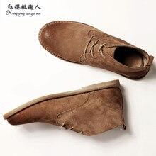 Classique en cuir véritable outillage bottes fou cheval en cuir martin bottes hommes mode désert bottes populaire high top chaussures en cuir