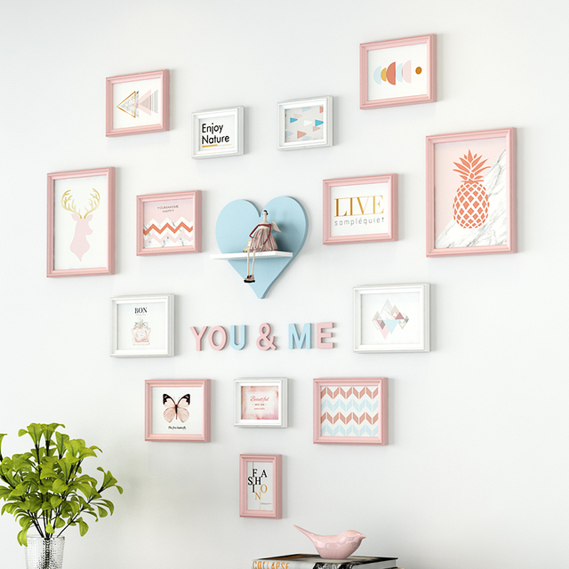14 Pcs Wall Hanging Photo Frame With Sticker Multi frame For Picture ...