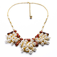 Elegant Beads Cluster Imitation Pearl Necklace For Women Fashion Geometric Bridal Necklace Party Jewelry Accessories