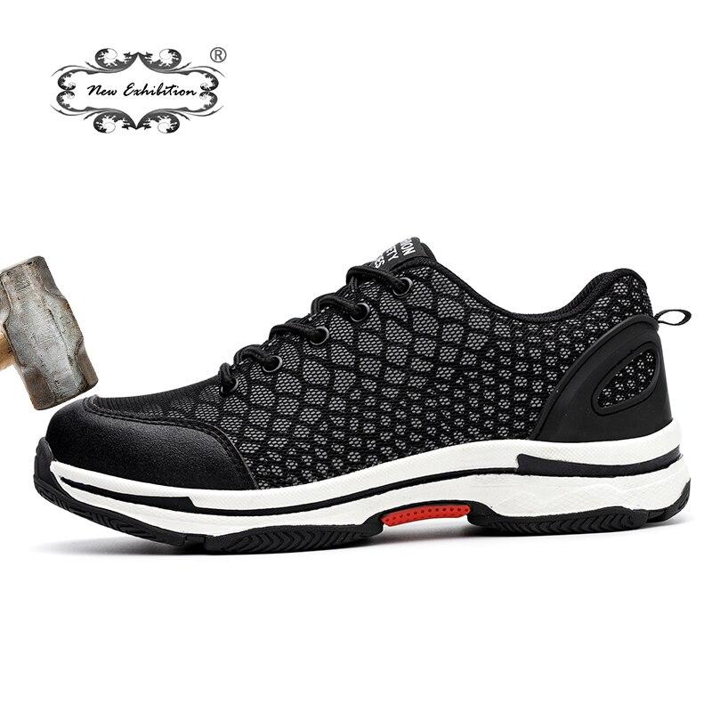 Nouvelle exposition 2018 Mode chaussures de sécurité Hommes Maille Légère Respirant Réfléchissant De Nuit baskets décontractées hommes Acier Orteil chaussures de Travail