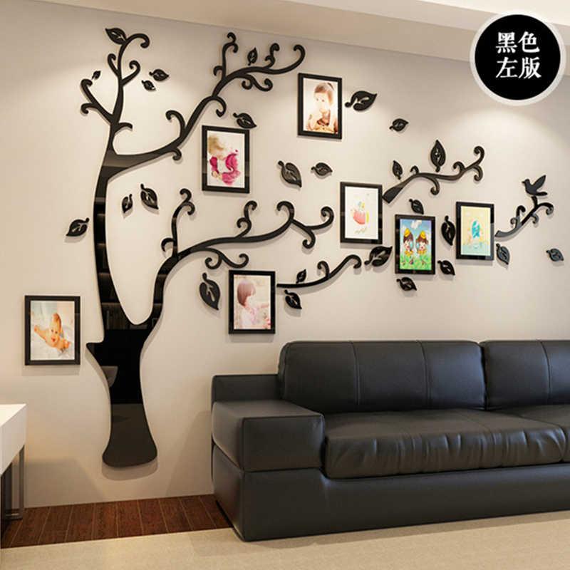 3D DIY семья свадьба фото пленка с изображением дерева настенные наклейки, искусство дома ТВ фоновые украшения настенные наклейки, 4 размера стенная настенная роспись