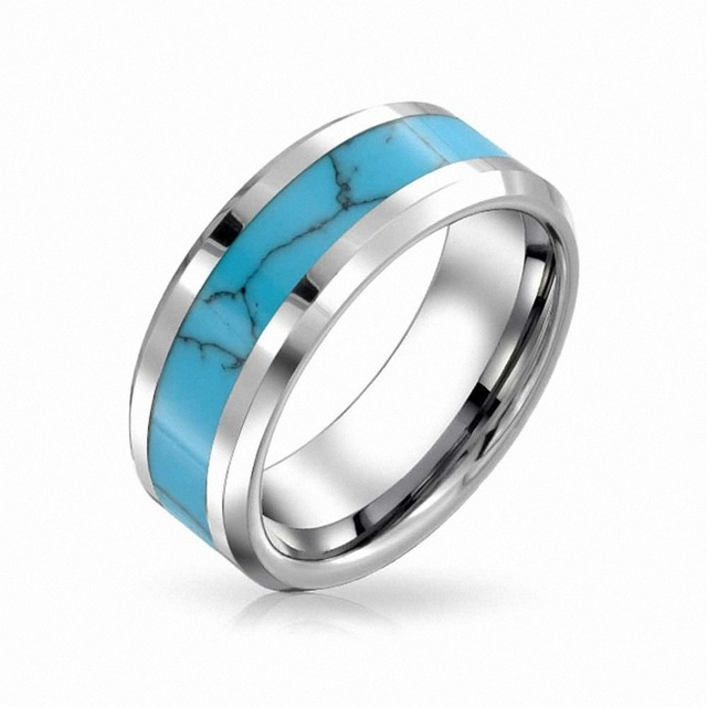 8mm Mens Womens Tungsten Blue Turquoise Inlay Wedding Band Infinity Promise Rings Vintage Jewelry