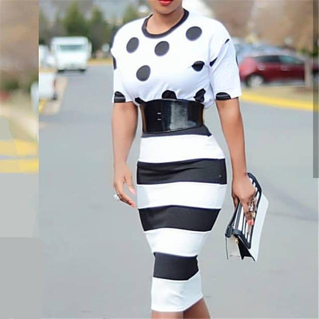 Black White Big Polka Dot Striped Dress