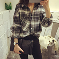 New Fashion Womens Tops Casual Blouse Turndown Collar Long Sleeve Plaids Print Pattern Flannel Shirt Streetwear Women Shirts