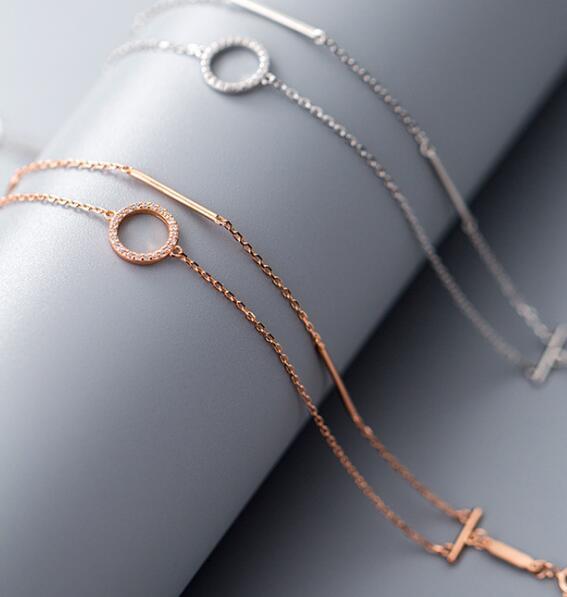 1 Stück 100% Real. 925 Sterling Silber Edlen Schmuck Zwei-reihen/doppel Layes Glück Gerade Bar & Offenen Kreis Kette Armband Cz Ls765