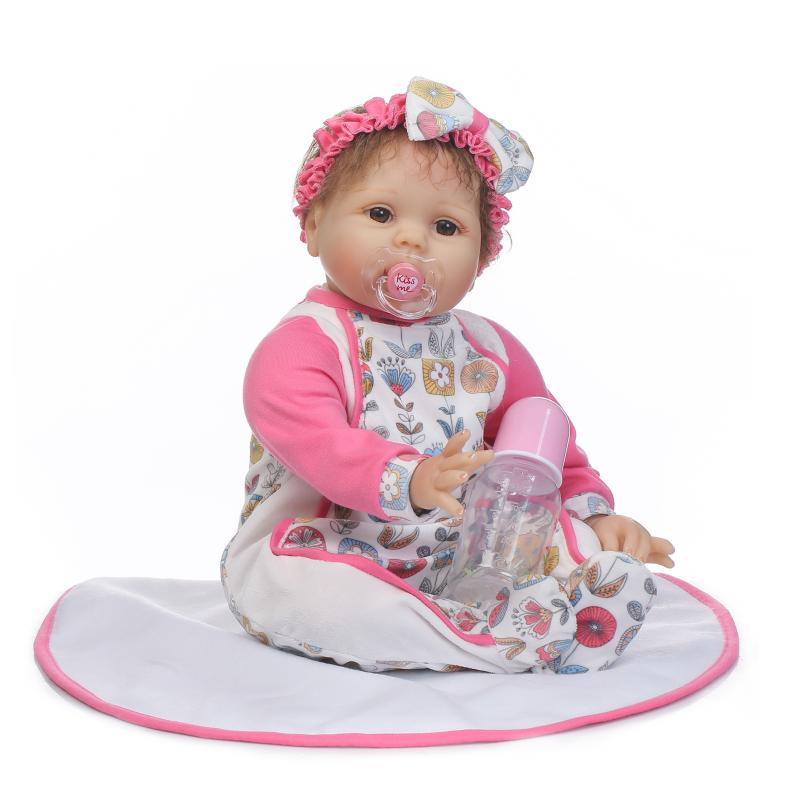 22inch  Silicone Reborn Baby Dolls round face In Top Quality real touch white skin girl doll Reborn Dolls Babies for Gift22inch  Silicone Reborn Baby Dolls round face In Top Quality real touch white skin girl doll Reborn Dolls Babies for Gift