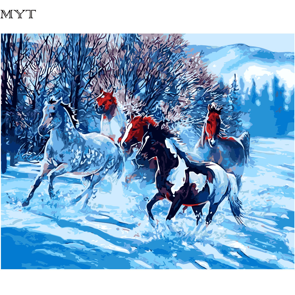 MYT DIY Painting By Numbers On Canvas 40x50cm 50cmx65cm 60x75cm Frameless Snow Horse Oil Painting Picture By Numbers Home Decor