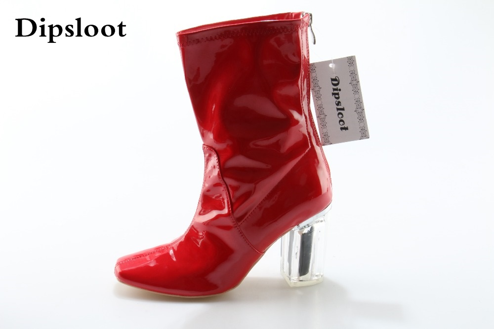 New Womens Boots Patent Leather Red Short Boots Sexy Fashion Pointed Toe Back Zipper High Heels Mid Calf Boots Womens Shoes fromthenon cute pu leather notebook cover kawaii cat a5a6 spiral planner personal diary weekly monthly daily journal stationery