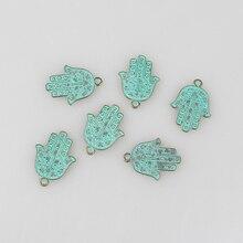 10pcs/lot 29MM Retro Verdigris Patina Plated Zinc Alloy Green Hamsa Hand Charms Pendants  For DIY Jewelry Accessories