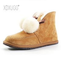 2018 new autumn and winter fur shearling snow boots apron hair ball snow cotton baby star with cotton boots slip